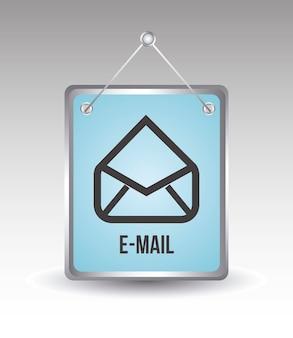 E-mail ikona na szarym tle ilustracji wektorowych