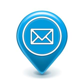 E-mail ikona pinezka na białym tle