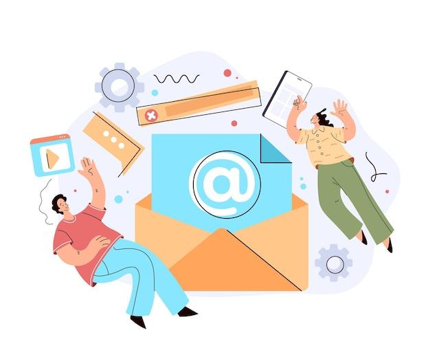 E-mail koperty marketingowe na czacie wsparcie koncepcja listu komunikacji internetowej online