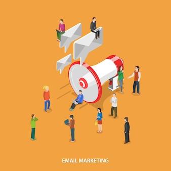 E-mail marketing płaski izometryczny koncepcja.