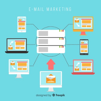 E-mail marketing płaski tło