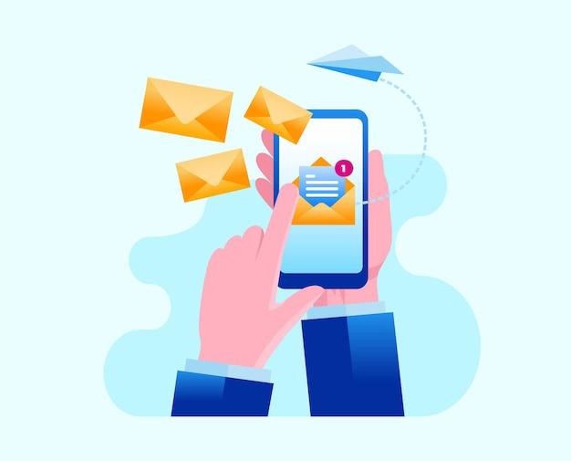E-mail marketing płaski wektor ilustracja szablon transparent
