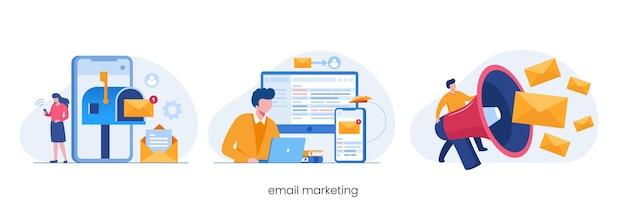 E-mail marketing, strategia biznesowa online, reklama, płaski wektor ilustracji