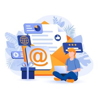 E-mail marketingowa ilustracja koncepcja płaska konstrukcja