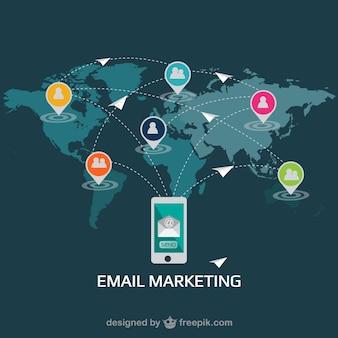 E-mail marketingu płaska wektor