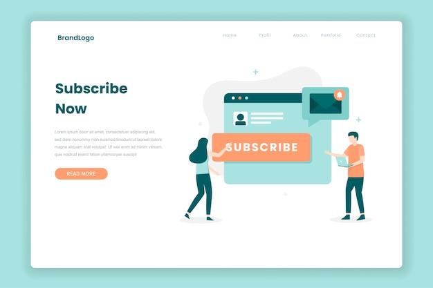E-mail subskrybuj koncepcję strony docelowej. ilustracja do stron internetowych, stron docelowych, aplikacji mobilnych, plakatów i banerów.