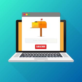 E-mail subskrybuj, szablon wektora biuletynu online ze skrzynką pocztową i przycisk wyślij na ekranie laptopa.