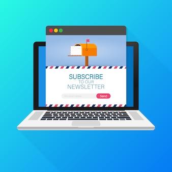 E-mail subskrybuje, szablon newslettera online ze skrzynką pocztową i przycisk przesyłania na ekranie laptopa.