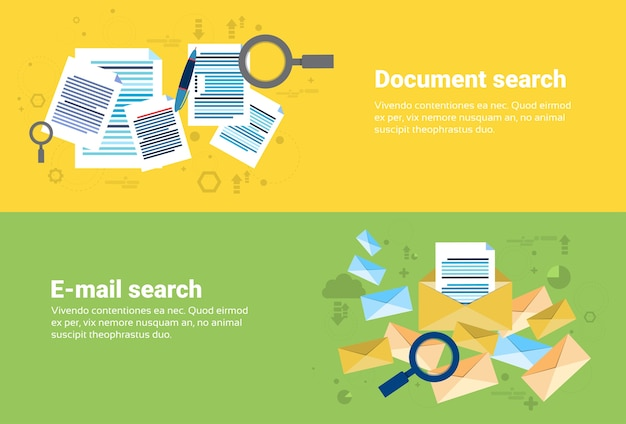 E-mail wyszukiwanie dokumentów treść cyfrowa technologie informacyjne biznes web banner flat vector illust