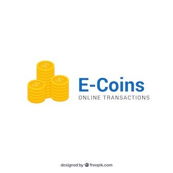 E monety pieniądze logo szablon