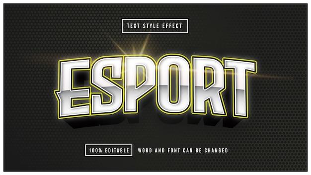 E-sport gaming żółty efekt tekstowy w stylu edytowalnym