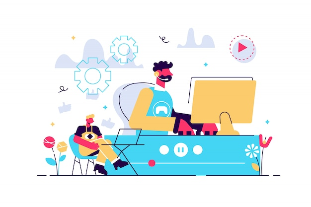 E-sport gracz na żywo, strumieniowa transmisja wideo online, gra i przeglądarka za pomocą laptopa. transmisja strumieniowa e-sport, teleturniej na żywo, koncepcja biznesowa transmisji strumieniowej online. jasny żywy fiolet na białym tle ilustracja