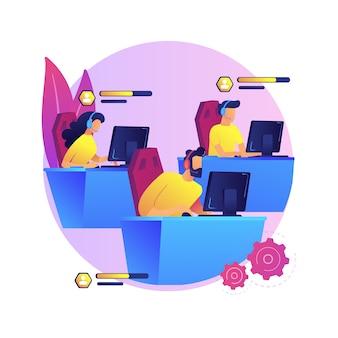 E-sport ilustracja koncepcja abstrakcyjna zespołu. grupa graczy e-sportowych, profesjonalna drużyna, liga sportowa online, mistrzostwa gier, przeglądarka internetowa, wspólne granie, współpraca.