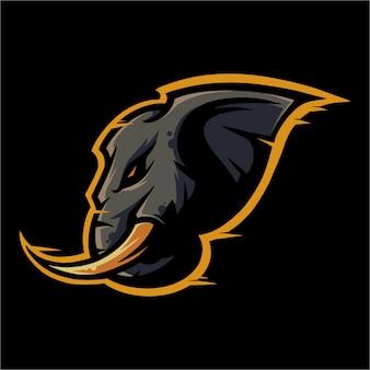 E sport logo słoń gotowy do ataku