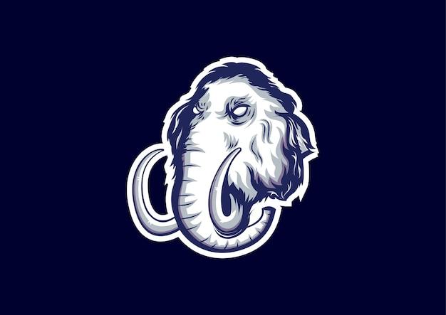 E-sport logo szablon z motywem głowy mamuta. plik edytowalny