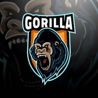 E-sport z logo głowy goryla
