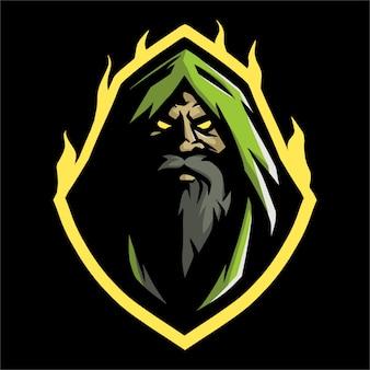 E sportowe logo z zielonym kapturem i ogniem