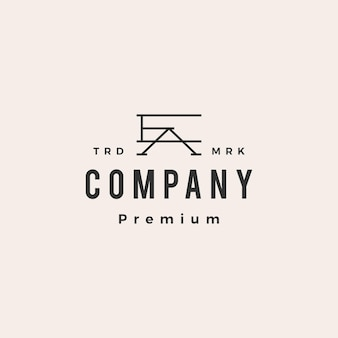 Ea ae letter mark początkowe logo vintage hipster