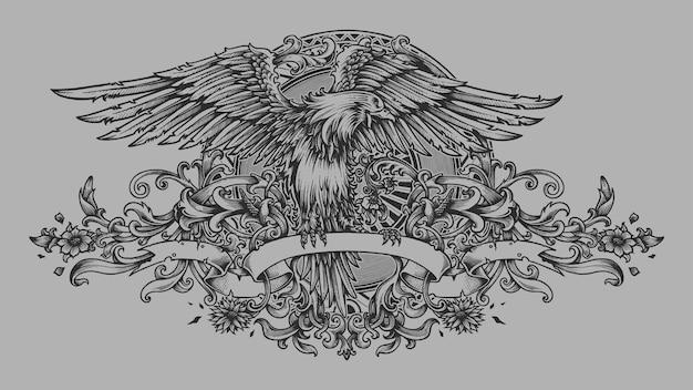 Eagle crest banner engraving