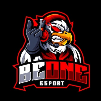 Eagle gamer angry maskotka logo dla e-sportu i drużyny sportowej