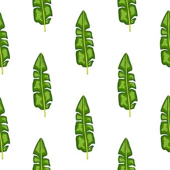 Eamless wzór z geometrycznymi zielonymi liśćmi bananowca tropik.