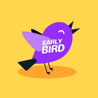 Early bird zniżki wektor oferta specjalna sprzedaż ikona. wczesny ptak ikona kreskówka promo znak transparent.