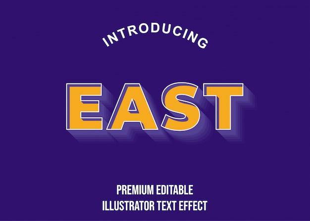 East - 3d pomarańczowy fioletowy fioletowy efekt czcionki styl czcionki