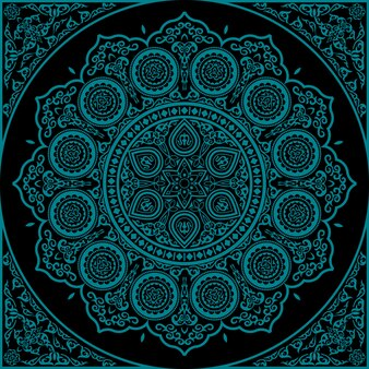 East blue mandala - round ornament