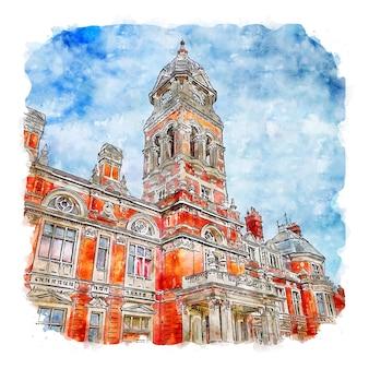 Eastbourne anglia akwarela szkic ręcznie rysowane ilustracja