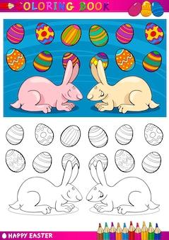 Easter bunny ilustracja kreskówka do kolorowania