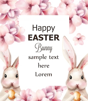 Easter bunny królik i wiśniowe kwiaty