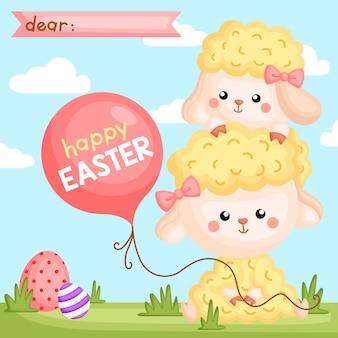 Easter sheep holding balloon card