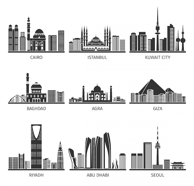 Eastern cityscapes landmarks black collection
