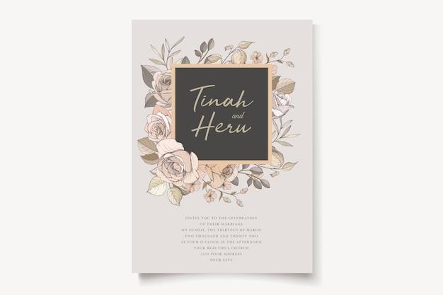 Eautiful ręcznie rysowane róże i zestaw zaproszenia ślubne lilia