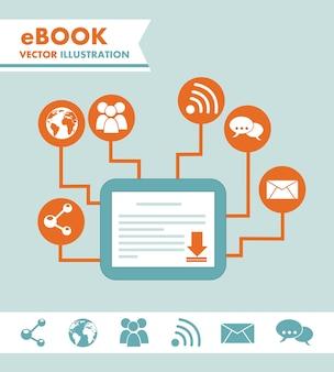 Ebook ściąganie nad błękitną tło wektoru ilustracją