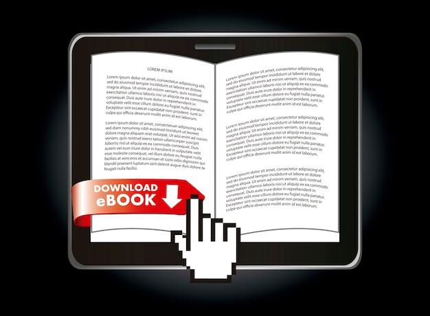 Ebook ściąganie nad czarną tło wektoru ilustracją