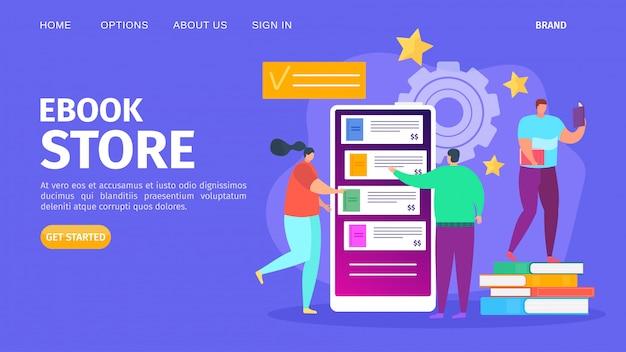 Ebook sklepu biblioteka dla edukaci, ilustracja. cyfrowa książka online, koncepcja technologii wiedzy w internecie. szkoła internetowa