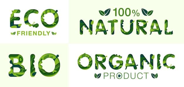 Eco bio naturalne i organiczne napisy szablon koncepcja origami i pomysł na ekologię