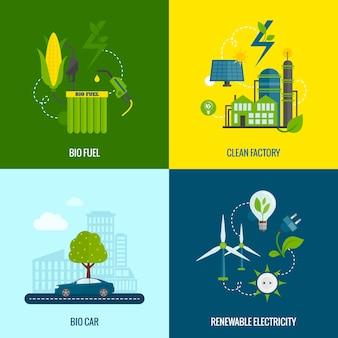 Eco energy płaskie ikony składu