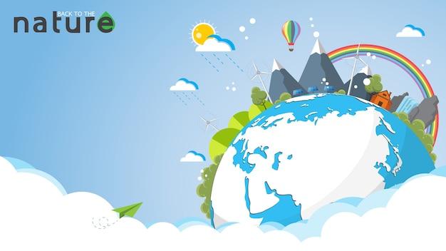 Eco i natura koncepcja szablon.