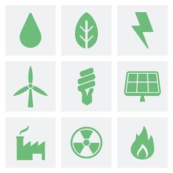 Eco i zielone ikony ilustracyjne