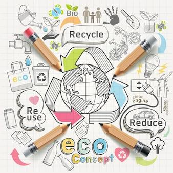Eco koncepcja myślenia gryzmoły zestaw ikon.