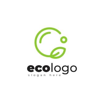 Eco leaf geometryczne monoline logo design