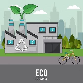 Eco lifestyle budynek przemysłowy recyklingu rowerów transportu zrównoważonego