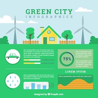 Eco miasta infografia w kolorze zielonym z elementami infographic