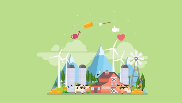 Eco organic farming tiny people character