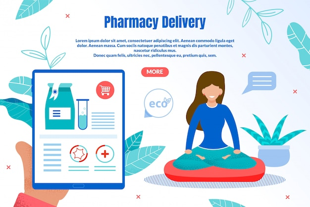Eco pharmacy delivery flat web banner