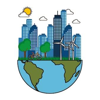 Eco przyjazny miasto z turbin wiatrowych rower i połowa planety ziemi projekt wektor ilustracja