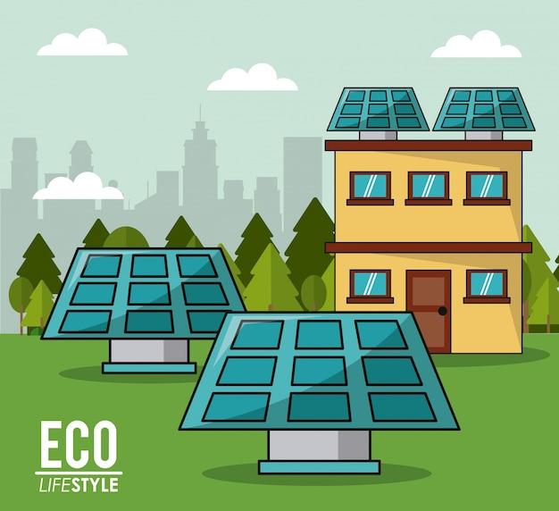 Eco stylu życia panel słoneczny dom inteligentny czystej energii innowacji cityspace