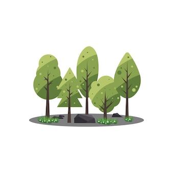 Eco stylu życia zielony las płaska konstrukcja tła